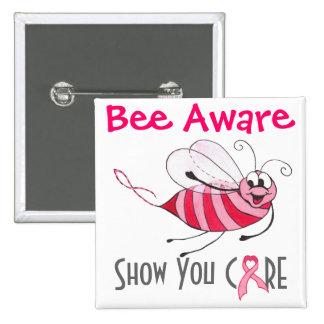 Abeja rosada enterada de la abeja - Pin de la conc Pin Cuadrada 5 Cm