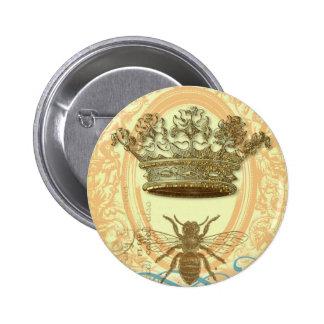 Abeja y corona pin redondo de 2 pulgadas