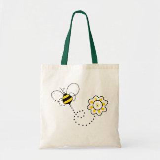 Abeja y flor lindas bolsas de mano