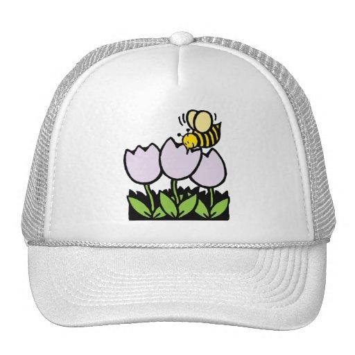 Abeja y flores gorro