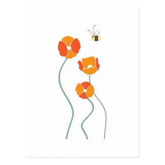 Abeja y flores tarjeta postal