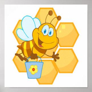 abeja y panal felices lindos de la miel impresiones