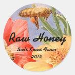 Abejas de enlatado caseras de la miel del tarro pegatina redonda