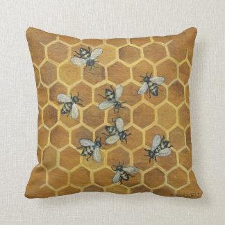Abejas de la miel cojín decorativo