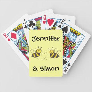 Abejas de la miel con el corazón baraja cartas de poker