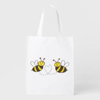 Abejas de la miel con el corazón bolsa de la compra