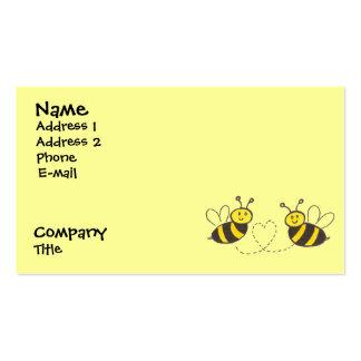 Abejas de la miel con el corazón tarjetas de visita