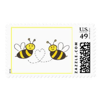 Abejas de la miel con el corazón timbre postal