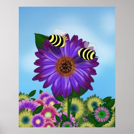 Abejas de la miel del dibujo animado que se encuen posters
