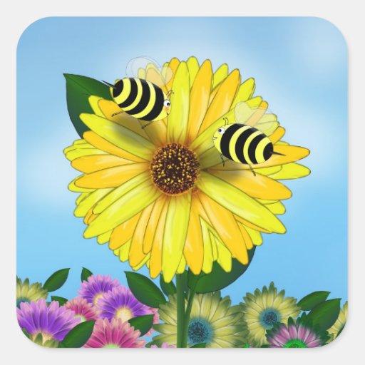 Abejas de la miel del dibujo animado que se calcomanías cuadradass personalizadas