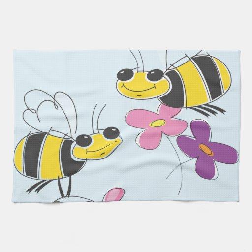 Abejas de la miel y flores de la primavera toalla de mano