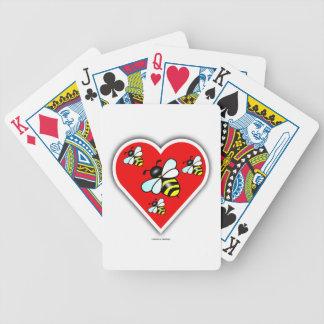 Abejas del amor (cuatro abejas dentro del corazón barajas de cartas