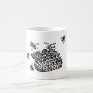 Abejas del vintage taza básica blanca