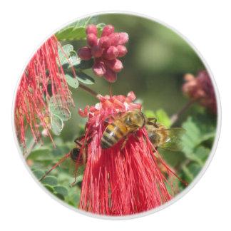 Abejas en la flor rosada pomo de cerámica