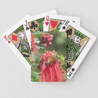 Abejas en naipes rosados de la flor baraja de cartas