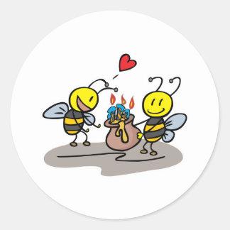abejas felices pegatina redonda