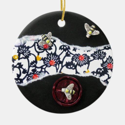 Abejas ocupadas - collage ornaments para arbol de navidad