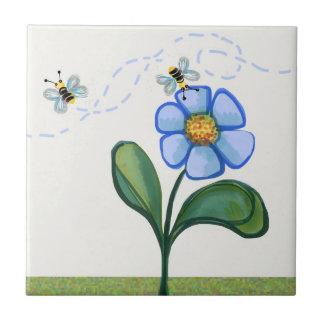 Abejas y flor azulejo cuadrado pequeño
