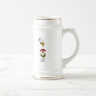 Abejas y flor taza de café