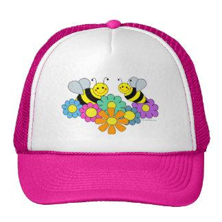 Abejas y flores gorro