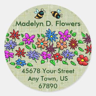 Abejas y flores pegatina redonda