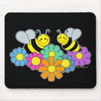 Abejas y flores tapete de ratones