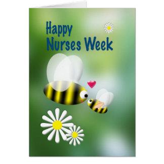Abejas y margaritas lindas de la semana de las tarjeta de felicitación
