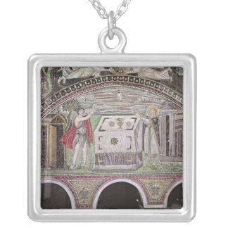 Abel and Melchisedech offering at the Altar Square Pendant Necklace