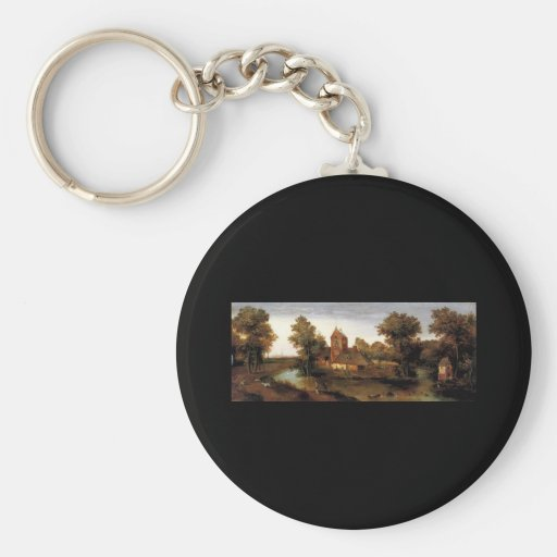 Abel Grimmer A Moated Tower With Farmhouses Keychains