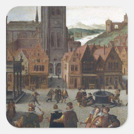 Abel Grimmer The Marketplace in Bergen op Zoom pro Square Sticker