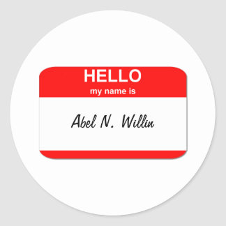 Abel N. Willin (able and willing) Classic Round Sticker