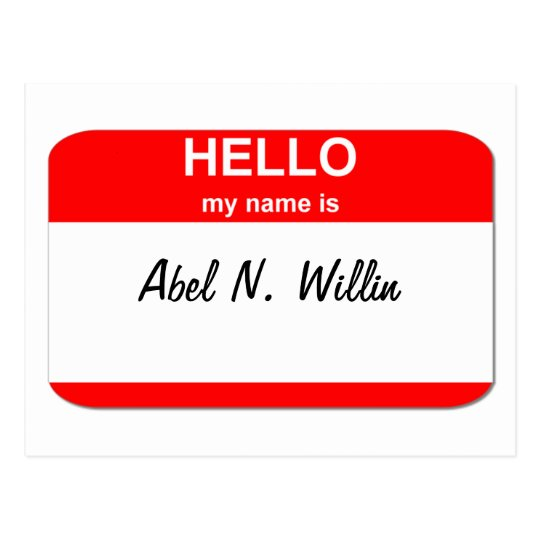 Abel N. Willin (able and willing) Postcard