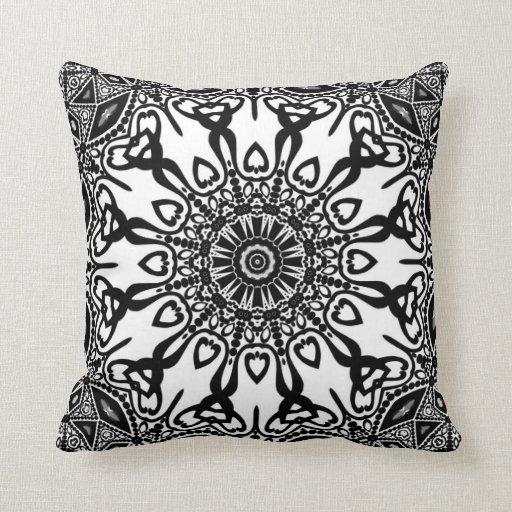 Abenaki Tribal Black White Pattern Cushion