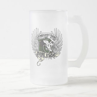 Abercrombie Just Ride Frosted Glass Beer Mug