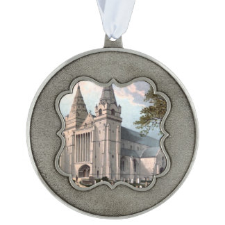 Aberdeen Cathedral circa 1908, Scotland Scalloped Pewter Ornament
