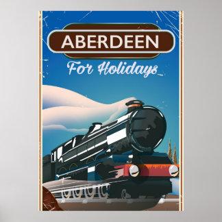 Aberdeen Scotland vintage train travel poster