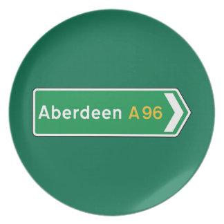 Aberdeen señal de tráfico BRITÁNICA Platos De Comidas
