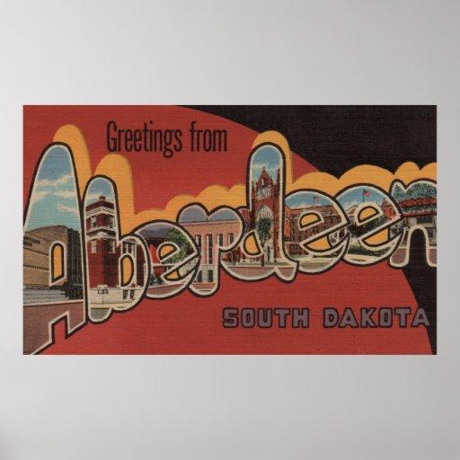 Aberdeen, South Dakota - Large Letter Scenes Posters