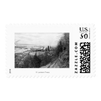 Aberdeen, WA Town View Mill and Harbor Photograp Postage