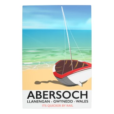 Beach Themed Abersoch, Llanengan  Wales travel poster