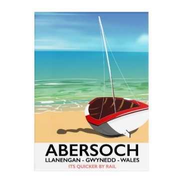 Beach Themed Abersoch, Llanengan  Wales travel poster Acrylic Wall Art
