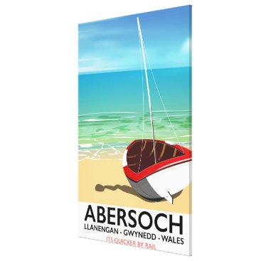 Beach Themed Abersoch, Llanengan  Wales travel poster Canvas Print