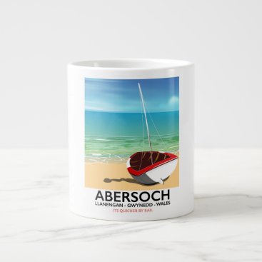 Beach Themed Abersoch, Llanengan  Wales travel poster Giant Coffee Mug