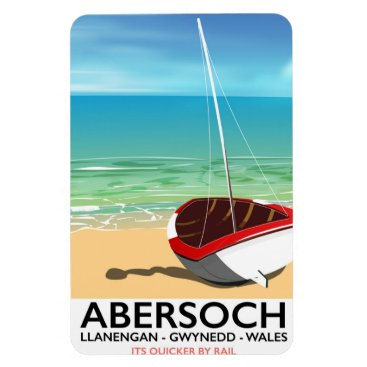 Beach Themed Abersoch, Llanengan  Wales travel poster Magnet