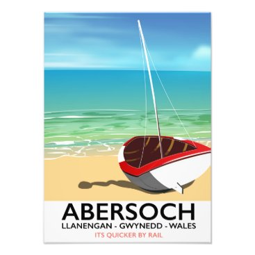 Beach Themed Abersoch, Llanengan  Wales travel poster Photo Print