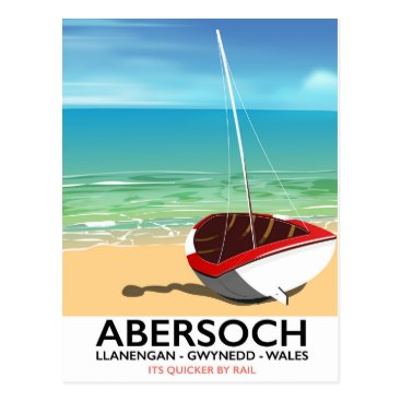 Beach Themed Abersoch, Llanengan  Wales travel poster Postcard