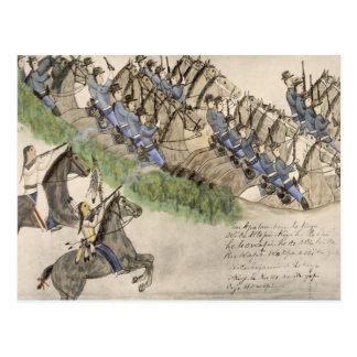 Abertura de la batalla del Little Big Horn tinta Postal