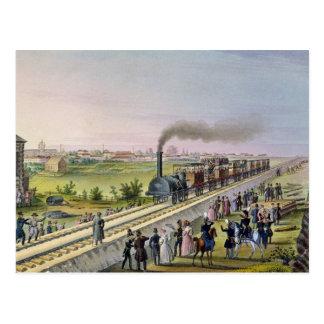 Abertura de la primera línea ferroviaria tarjeta postal
