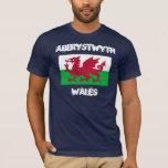 Aberystwyth, Wales with Welsh flag T-Shirt