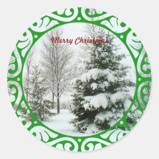 Abetos del invierno, Felices Navidad Etiqueta Redonda